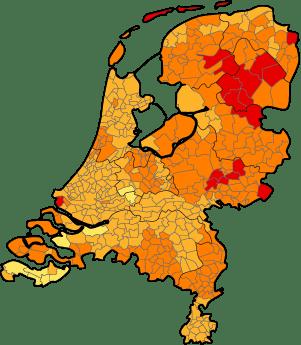 Kaart NL met gemelde rode kringen 2005
